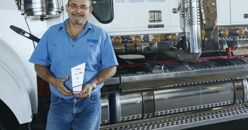 A transport driver who saved the life of a fellow truckie has been honoured as a Bridgestone Bandag Highway Guardian, a hero tracked down on Facebook.