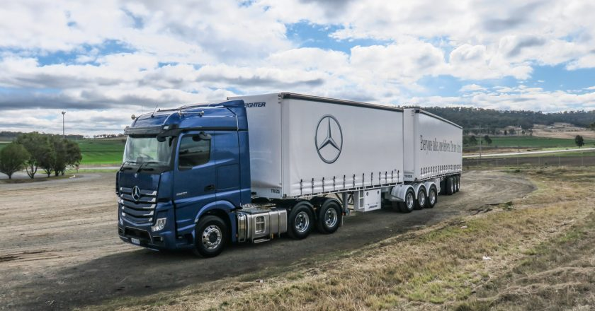 test driving a truck like the Actros